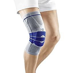 Bauerfeind GenuTrain Knee Support - breathable knit compression knee brace to relieve pain and swelling from arthritis, ACL injury, Miniscus tear, machine washable knee sleeve (Titanium, 4)