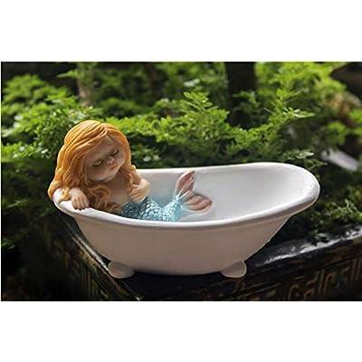 starbluegarden Amusing Mini Mermaid Sleeping in Bathtub Statue Figurine Ornament Home Fairy Garden Decor for Bookshelf Flowerpot Fish Tank : Garden & Outdoor