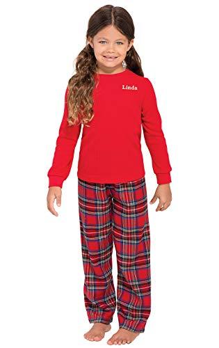 PajamaGram Personalized Stewart Plaid Pajamas with Red Top, Red, Big Girls' 6