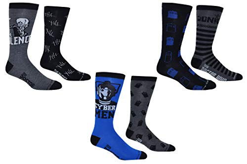 Doctor Who Socks Merchandise (6 Pair) - (Men's) Dr Who Gifts Guys Crew Socks - Fits Shoe Size: 9-13 (Mens)
