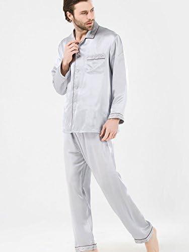 パジャマ メンズ シルク 紳士用 ブランド シルク100% 男性用 シルバー 刺繍&パイピング