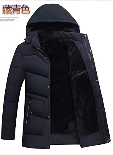 Men's Coat Hooded Jacket TTYLLMAO Padded Quilted Casual Outerwear Thickened Down Blue Navy qx1AAwS4d