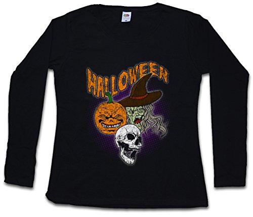 Urban Backwoods Halloween Faces Women Long Sleeve T-Shirt Black ()