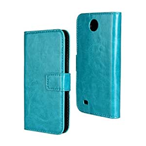 PIZU Crazy Horse Pattern Flip Leather Cover With Stand Shell Case For HTC Desire 300 Sky Blue
