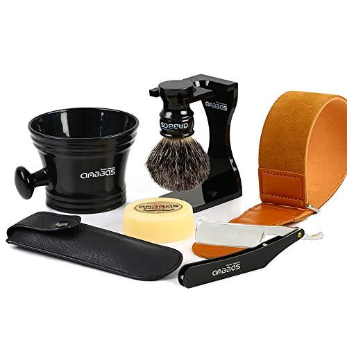 Shaving Brush Pure Black Badger Hair,7in1 Shaving Kit with Acrylic Shaving Stand Holder,Resin Shaving Mug and Goat Milk Soap 100g Straight Razor & Leather Case Razor Strop for Men Gift by Anbbas