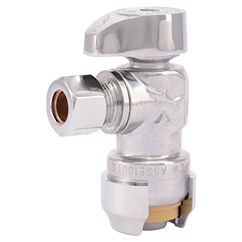 SharkBite 23036-0000LFA Angle Stop Valve 1/2 inch x 3/8 inch, Compression Fitting, Water Valve Shut Off, Push-to-Connect, PEX, Copper, CPVC, PE-RT