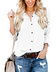 Ehpow Damen Bluse Langarm V-Ausschnitt Bluse Einfarbig Casual Button Down Oberteile Blusen Shirts (XX-Large, Y-weiß)
