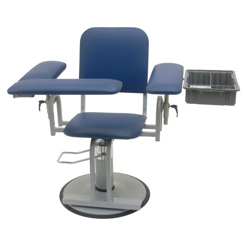 TK Manufacturing Hydraulic Height Adjustable 350 Lb Capacity Blood Drawing (Phlebotomy) Chair, Seat Adjusts From 20' To 27', Fully Upholstered Chair With Side Tray Dark Blue