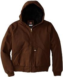 Dickies Big Boys\' Sanded Duck Hooded Jacket, Timber, Medium