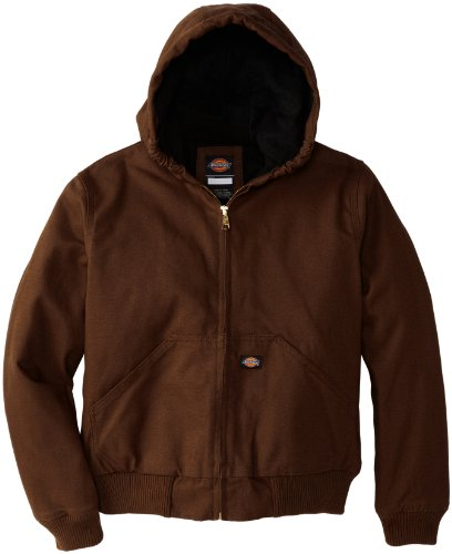 Dickies Big Boys' Sanded Duck Hooded Jacket, Timber, Medium(10-12) (Sanded Hooded Work Jacket)