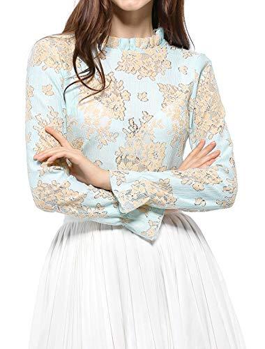 Allegra K Women's Crochet Lace See Through Floral Ruffle Neck Blouse L Light Blue ()
