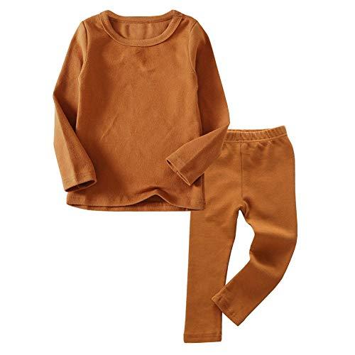 Toddler Boys Girls Thermal Underwear Long Sleeve T-Shirt Leggings 2Pcs Kids Winter Base Layer Set, (Brown,4Years)