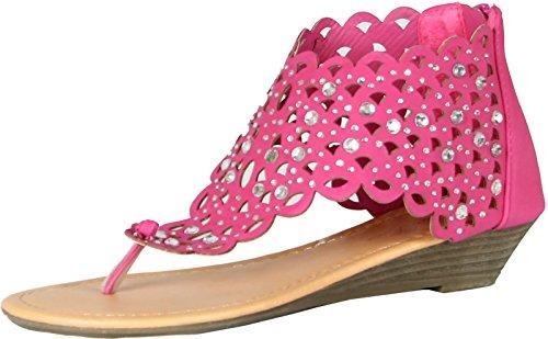 Luo Luo Womens Wedge Heel Sandals Fuschia Rhinestone Embellished -