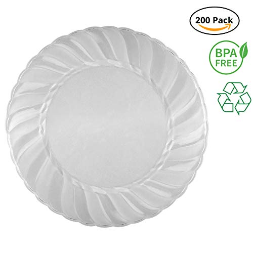 Party Joy 'I Can't Believe It's Plastic' 200-Piece Plastic Dinner Plate Set | Flairs Collection | Heavy Duty Premium Plastic Plates for Wedding, Parties, Camping & More (Clear Frosted)