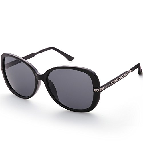 Polarized Sunglasses for Women, Oversized 58mm Gray Lens, Black Frame, Fashion Driving Eye Sunglasses with Case