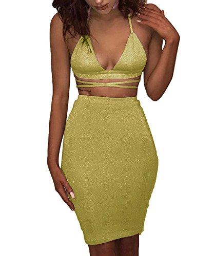 Doramode Ladies Fashion Sparkle Straps Backless Cut Out Slim Fit Wrap Pencil Skirt 2 Piece Parties Clubbing Dresses - Dress Neck Sheath Satin