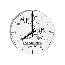 TooLoud Personalized Mr and Mrs -Name- Established -Date- Design 8 Round Wall Clock with Numbers