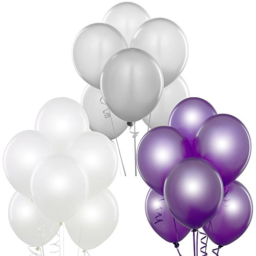 (Pearl White, Metallic Silver, Metallic Purple 12 Inch Pearlescent Thickened Latex Balloons, Pack of 72, Pearlized Premium Helium Quality for Wedding Bridal Baby Shower Birthday Party Decoration)