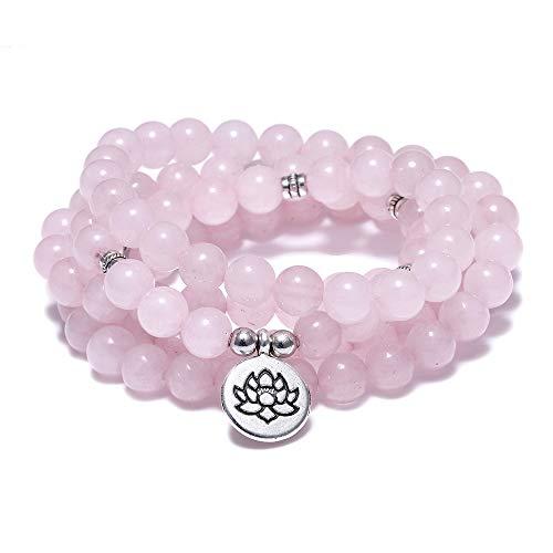 FUTTMI 8mm Natural Sodalite Stone Healing Gemstone 108 Mala Beads Wrap Bracelet Necklace for Yoga Charm Bracelet Jewelry for Women -