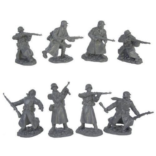 German Soldier Figure - WWII Longcoat German Infantry Plastic Army Men: 16 piece set of 54mm Figures - 1:32 scale