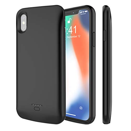 iPhone X Battery Case, Euhan 4000mAh Rechargeable Portable Power Charging Case for iPhone X (5.8 inch) Extended Battery Pack Protective Ultra Thin Charger Case,Compatible with Wire Headphones (Black) by Euhan