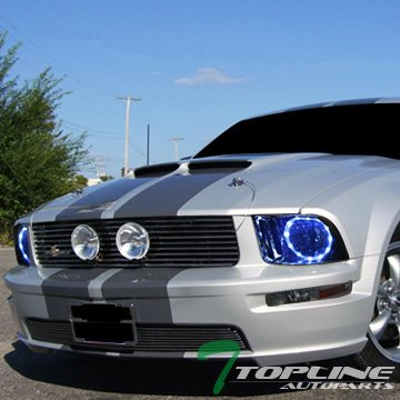 Topline Autopart Crystal Smoke Housing Daytime DRL LED Halo Headlights NB with Signal Bumper Lights Amber Lamp JY 05-09 Ford Mustang