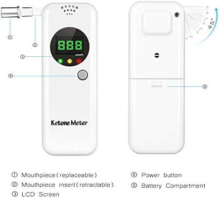 Ketone Breath Meter, Professional Portable Ketone Breath Tester, Digital Ketone Breathalyzer with 10 Mouthpieces (Color2) 5
