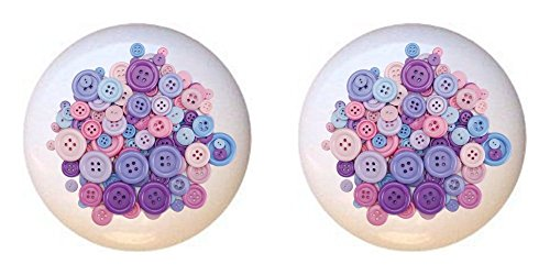 Sewing Drawer Pulls - SET OF 2 KNOBS - Pastel Buttons - Crafts Sewing - DECORATIVE Glossy CERAMIC Cupboard Cabinet PULLS Dresser Drawer KNOBS