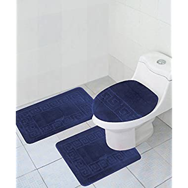 3 Piece Bath Rug Set Pattern Bathroom Rug (20 x32 )/large Contour Mat (20 x20 ) with Lid Cover (Navy)