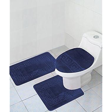 3 Piece Bath Rug Set Pattern Bathroom Rug (20 x32 )/large Contour Mat (20 x20 ) with Lid Cover (Navy)