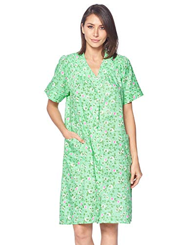 Casual Nights Women's Snap Front House Dress Short Sleeve Woven Duster Housecoat Lounger Robe, Floral Green, X-Large