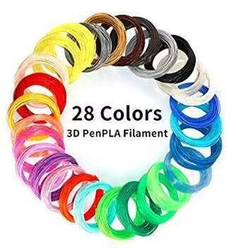 AIO Robotics Sample PLA 3D Pen/Printer Filament 28 Colors 10 Foot per Color 1.75 mm