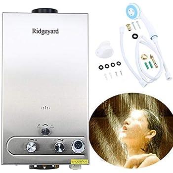 Ridgeyard 3.2GPM Water Heater 12L Digital Display LPG Propane Gas Tankless Stainless Instant Boiler Hot Water Heater Boiler Burner Indoor Home Bathroom Supplies
