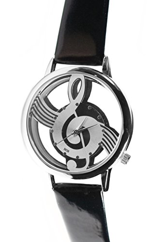 """Black Glossy Patent Leather Musical Note Clef Stylish Wrist Watch 3/4"""" to 8 1/2"""""""