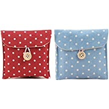 GBSTORE 2 Pcs 1 Red and 1 Blue Sanitary Napkins Bag Menstrual Cup Pouch Nursing Pad Holder Cute Polka Dot Cotton 4.7x4.7 inch Washable Organizer Storage