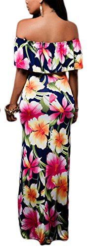 Waist Off Multi Printed Allonly Women High Shoulder Flower Color s Dress Long wqqZvEX