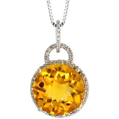 Silver City Jewelry 14k White Gold 18 in. Box Chain 7 8 in. 22mm Tall Round Pendant, w 0.15 Carat Brilliant Cut Diamonds 5.88 Carats 12mm Brilliant Cut Citrine Stone