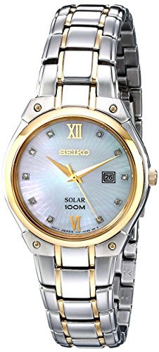 (Seiko Women's SUT214 Two-Tone Stainless Steel Bracelet Watch with Diamond Markers)