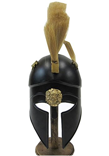 [Steel Black Greek Corinthian Helmet w/ Plume Wearable Armor Costume] (Authentic Stormtrooper Costume For Sale)