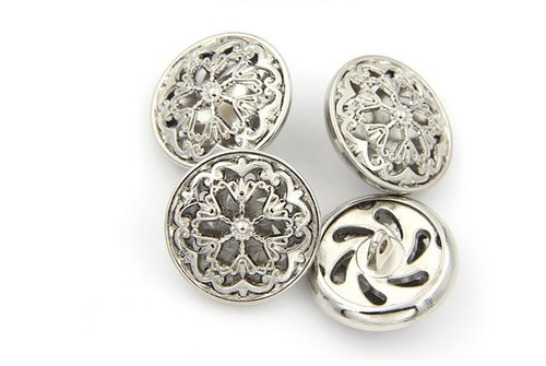Flower Hollow Metal Shank Buttons for Fashion Coats (Gun black/Silver/Gold/Tea gold, Pack of 6) (0.98 inches, (Silver Button Coat)