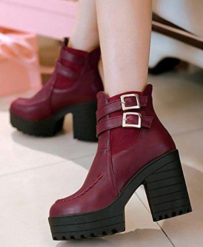 IDIFU Womens Dressy Strap Buckle Chunky High Heels Platform Martin Ankle Boots Red ad5kkhK9Xh