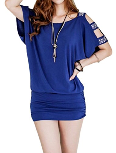 Jaycargogo Batwing Sexy O-cou Femmes Manches Bodycon Crayon Mini Robes Bleu