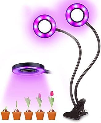 JOYOOO 24W Lamparas de crecimiento LED,Doble cabeza Rojo azul Lámpara Lámpara de Crecimiento Cultivo, 360 Grados flexible Swan Neck Clip Para ...