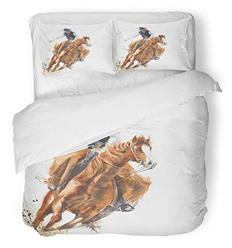Emvency 3 Piece Duvet Cover Set Breathable Brushed Microfiber Fabric Rodeo Cowboy Riding Horse Ride Calf Roping Watercolor Painting White Western Bedding Set with 2 Pillow Covers Full/Queen Size