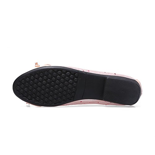 Pink Cow Solid AllhqFashion Heels Bowknot Mesh Womens Toe Pumps Round Leather Low and Closed with g6IgB