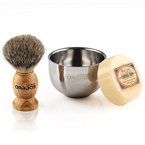 Badger Shave Brush, Shaving Bowl and Soap for Men's Traditional Shaving by Anbbas