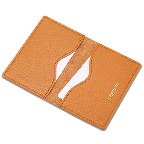 HISCOW Minimalist Thin Bifold Card Holder - Italian Calfskin (Pebbled Whiskey)