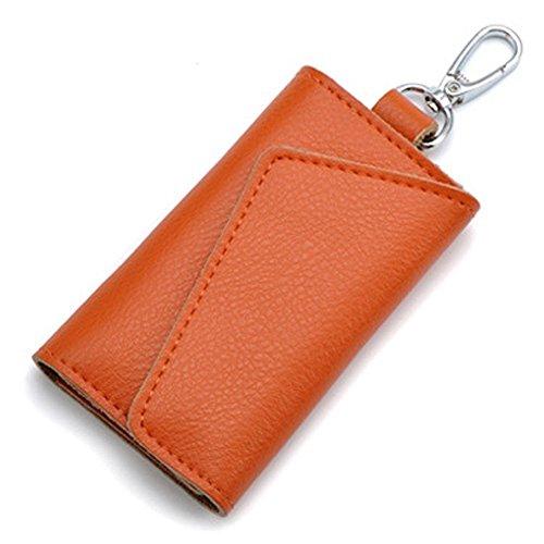Aladin Leather Pocket Key Organizer Case with 6 Hooks & 1 Car Key Fob Holder Orange (Key Fob Patent Leather)