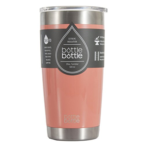 Bottlebottle 20 oz Insulated Tumbler Cup Stainless Steel Travel Coffee Mug, Light Coral Pink