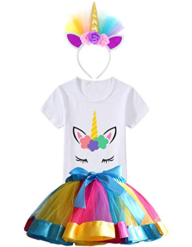 5 Matching Halloween Costumes - HBeatific Little Girls Layered Tulle Rainbow